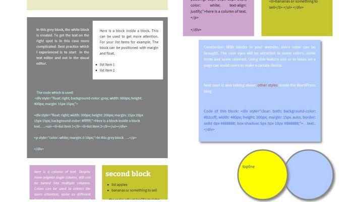 coloured blocks in your website