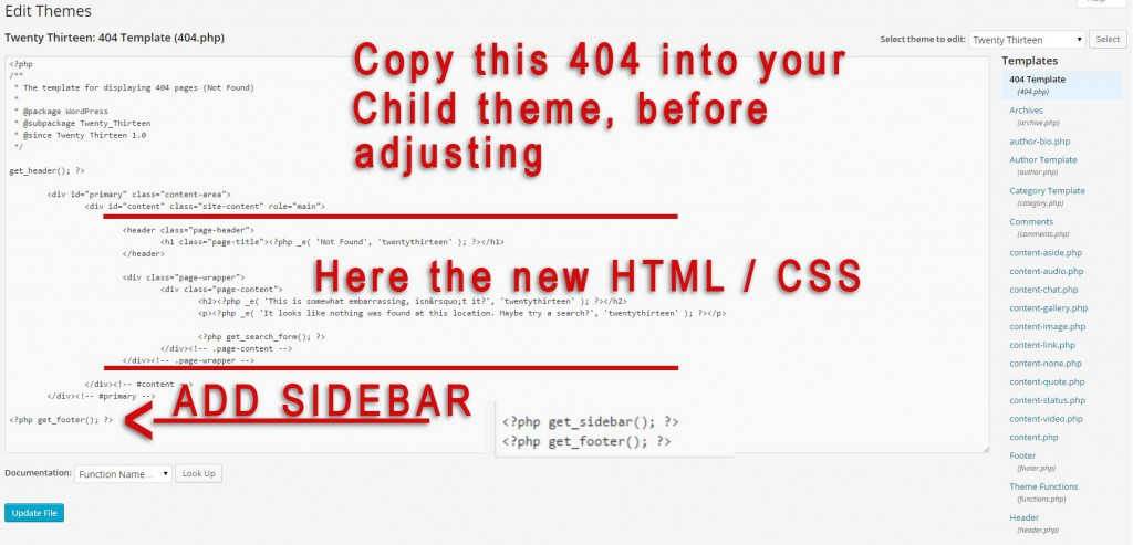 adjust 404 template in wordpress
