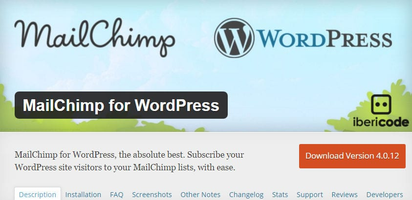 wordpress plugin mailchim for wordpress