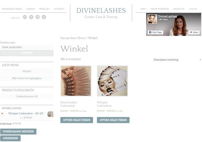winkel in website met aparte zijbalk
