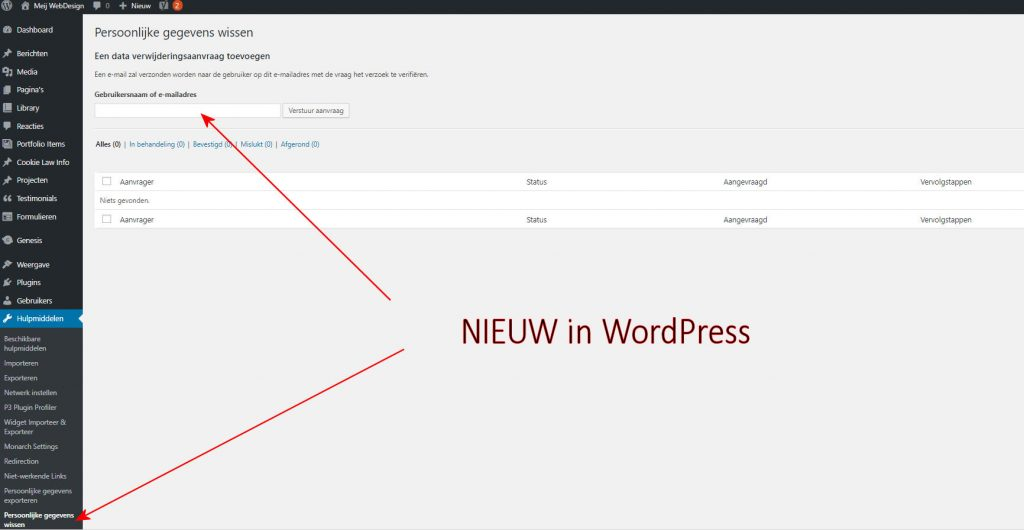 AVG gegevens wissen in WordPress