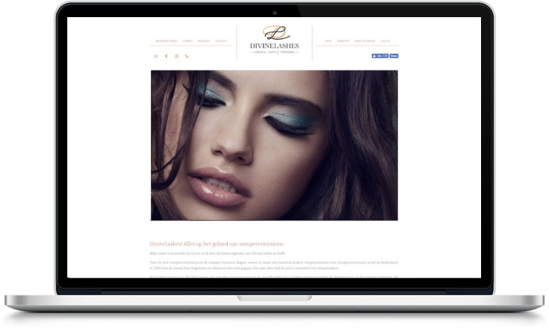 website divinelashes gemaakt door meijwebdesign