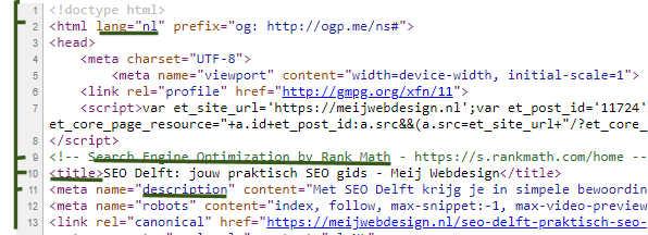 website browserbron van SEO delft pagina